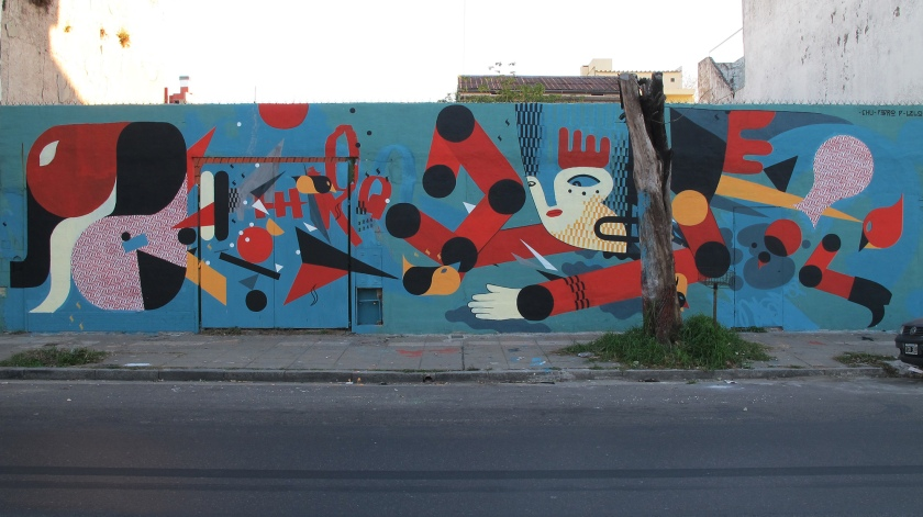 Mural con Chu-Doma y Joao Lelo. Avenida Donado al 3200. Saavedra. Buenos Aires. Argentina